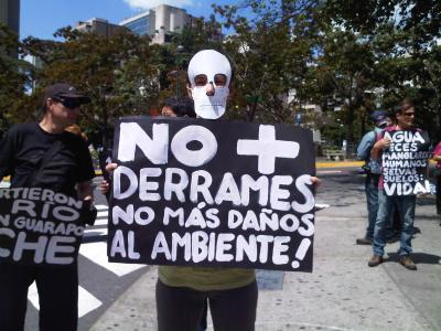 Protesta en Caracas ante colosal derrame petrolero en Guarapiche